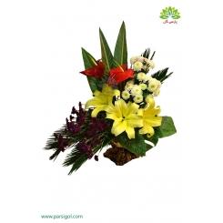 سبد گل رومیزی تبریک تولد نوزاد کد DF03202