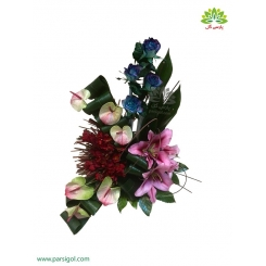 سبد گل تشکر و قدردانی رز آبی کد DF04202