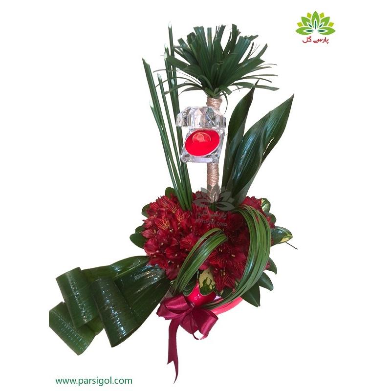 سبد گل نامزدی شیک آلسترومریا قرمز کد DF04402