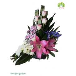 سبد گل بهاره فرزیا و زنبق جدید کد DF04502