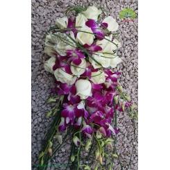 دسته گل عروس رز و ارکیده کد DF00204