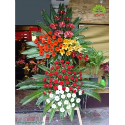 تاج گل تبریک دو طبقه رنگی کد DF05101