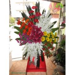 تاج گل تبریک و افتتاحیه هفت رنگ کد DF05801