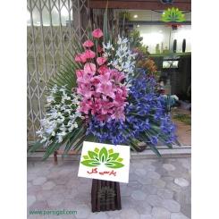 تاج گل تبریک زنبق آبی کد DF07801