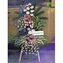 تاج گل تبریک سفید صورتی کد DF09001