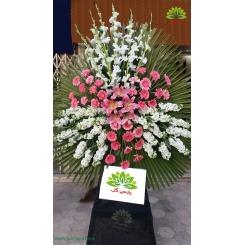 تاج گل ترحیم سفید و گلبهی کد DF10301