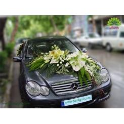 ماشین عروس گل رز و آنتوریوم سبز کد CR118