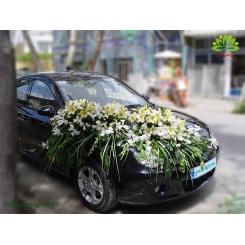 ماشین عروس پر گل با گل سفید کد CR116
