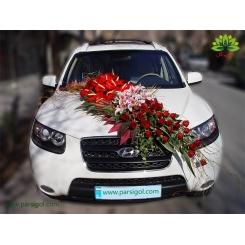 ماشین عروس با گل قرمز و سفید کد CR133