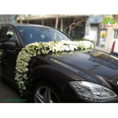ماشین عروس مجلل با گل فرزیا و ارکیده کد CR037
