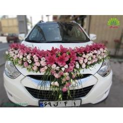 ماشین عروس مدل فانتزی با گل صورتی کد CR044