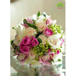 دسته گل نامزدی سفید صورتی کد DF00704