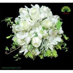 دسته گل عروس ارکیده و رز سفید کد DF00904