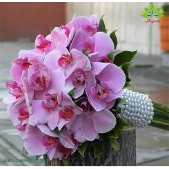 دسته گل عروس ارکیده صورتی کد DF01004