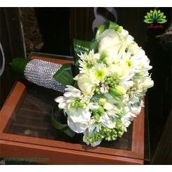 دسته گل عروس بله برون فرزیا و رز کد DF01104