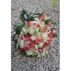 دسته گل عروس عاشقانه رز و ارکیده کد DF01504