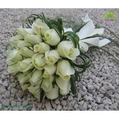 دسته گل عروس شیک رز سفید کد DF01804
