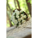 دسته گل عروس بله برون رز سفید کد DF02604