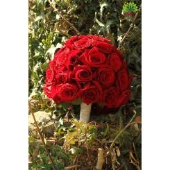 دسته گل نامزدی رز قرمز مدل توپی کد DF02704