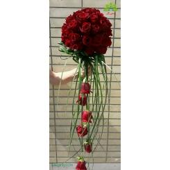 دسته گل عروس رز قرمز دو طرفه کد DF03304