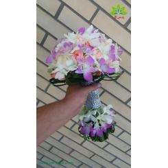 دسته گل عروس ارکیده دو طرفه کد DF04104
