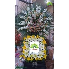 تاج گل ترحیم پر گل لوکس کد DF13301