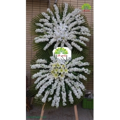 تاج گل تسلیت سفید فاخر کد DF14201