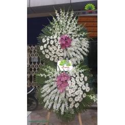 تاج گل ترحیم دو طبقه سفید گلبهی کد DF14501