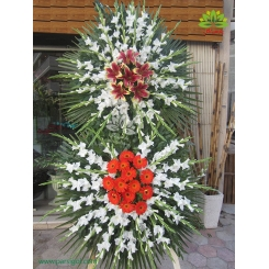 تاج گل تسلیت دو طبقه برازنده کد DF15201