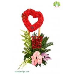 سبد گل تبریک ازدواج و عروسی طرح قلب کد DF00802