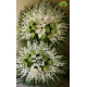 تاج گل ترحیم دو طبقه سفید و سبز کد DF18301