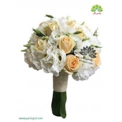 دسته گل عروس سفید کرمی زیبا کد DF00804