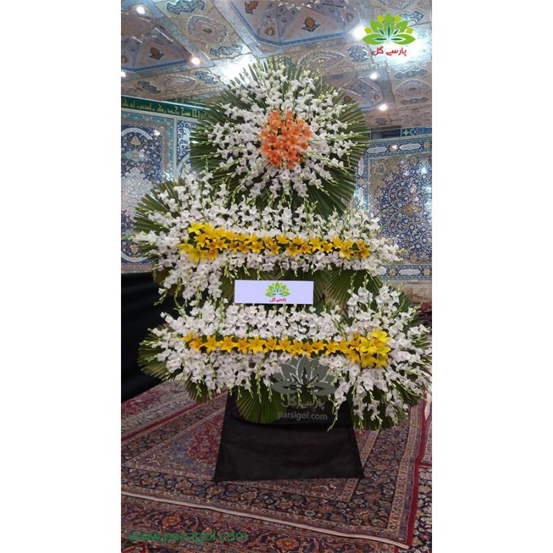 تاج گل ختم سه طبقه مجلل گلایول و لیلیوم کد DF21401