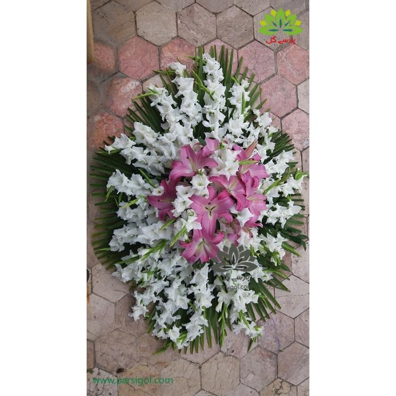 سبد گل ترحیم رومیزی گلایول سفید کد DF00306