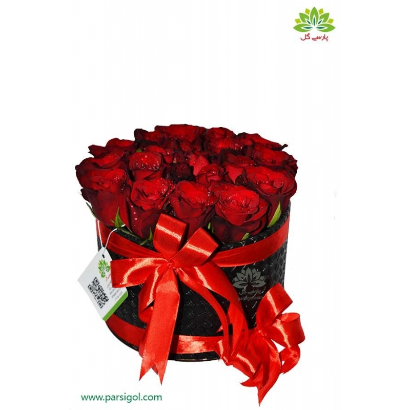 جعبه گل استوانه رز قرمز هلندی کد DF00505