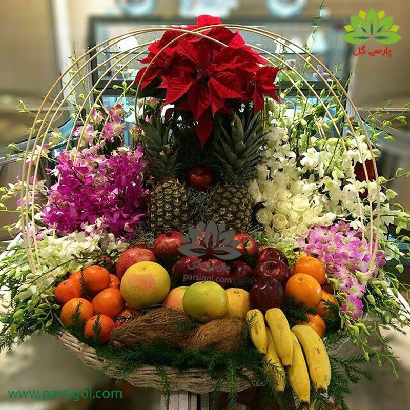 تزئین سبد میوه شب یلدا با گل ارکیده کد YL01701