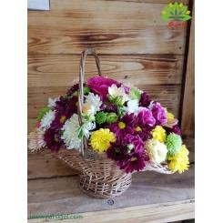 سبد گل چوبی بهار گل کد DF04802