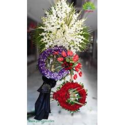 تاج گل تسلیت و خاکسپاری رز و آنتوریوم کد DF51401