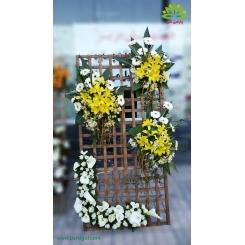تاج گل تبریک و افتتاحیه شیک شیپوری و رز کد DF51901