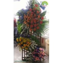 تاج گل تبریک عروسی رنگی کد DF52101