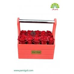 باکس گل چوبی تبریک رز قرمز کد DF02605