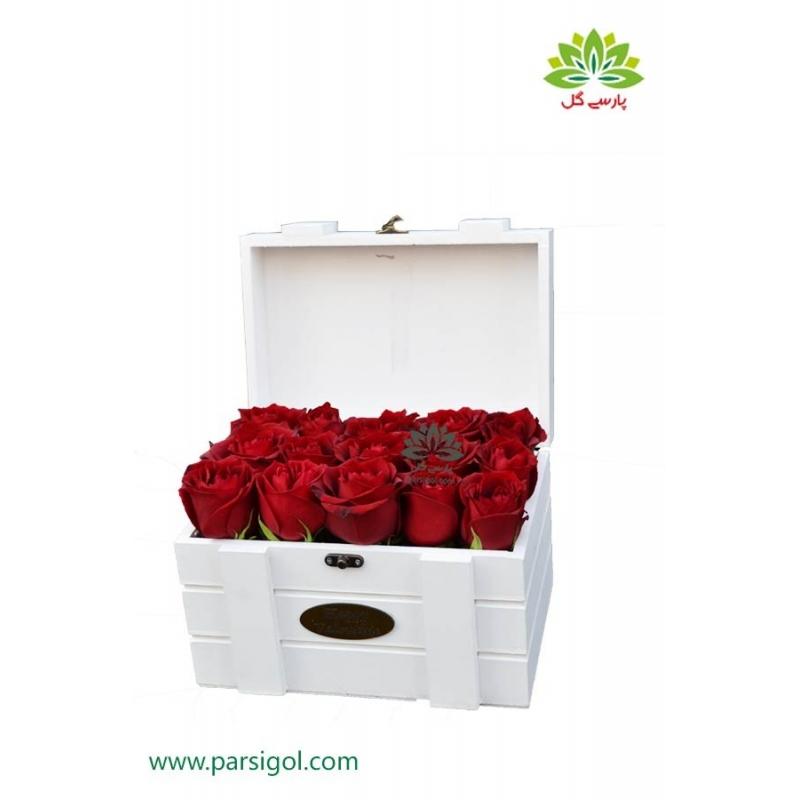 جعبه گل صندوقچه چوبی رز یاقوتی کد DF02705