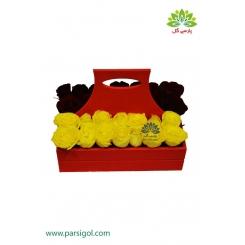 باکس گل رز زرد و قرمز دو طرفه کد DF02805