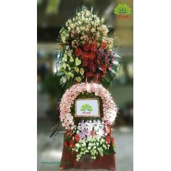 تاج گل تبریک عروسی دو طبقه بلند کد DF53001