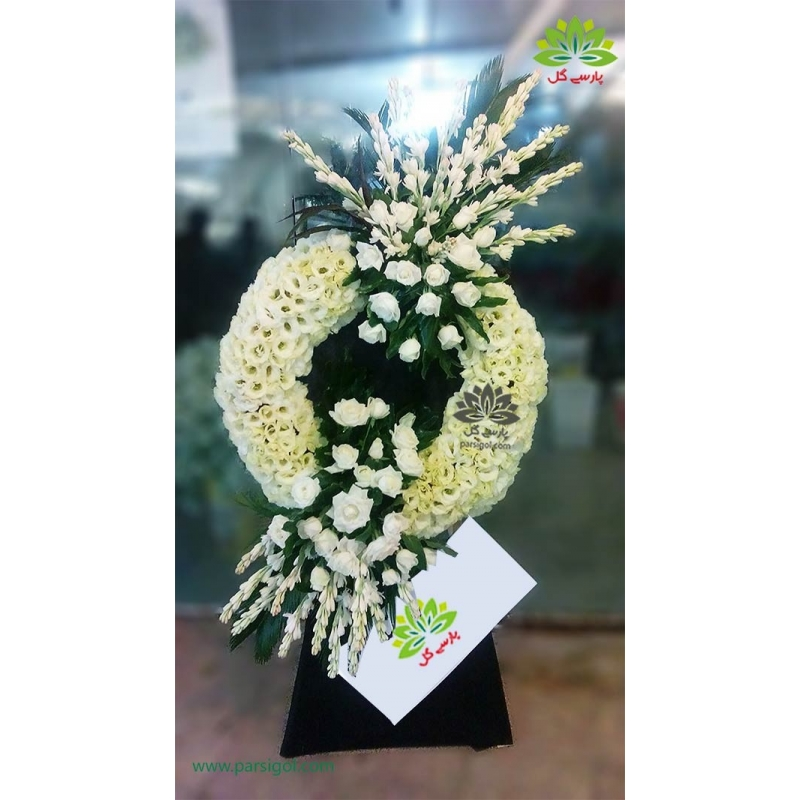 تاج گل ترحیم و ختم رز سفید کد DF54101
