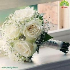 دسته گل عروس رز و شکوفه سفید کد DF05004