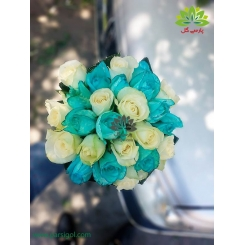 دسته گل عروس رز آبی و سفید کد DF05104