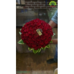 دسته گل عروس رز قرمز پر گل کد DF05504