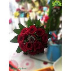 دسته گل عروس رز روز عشق کد DF05604