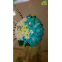 دسته گل عروس رز آبی لاکچری کد DF06404